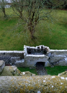 Looking down at the walls from the top of the castle